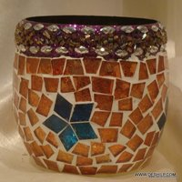 Multi Mosaic Color Votive Candle Holders