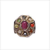Satyamani Navaratna Silver Plated Ring