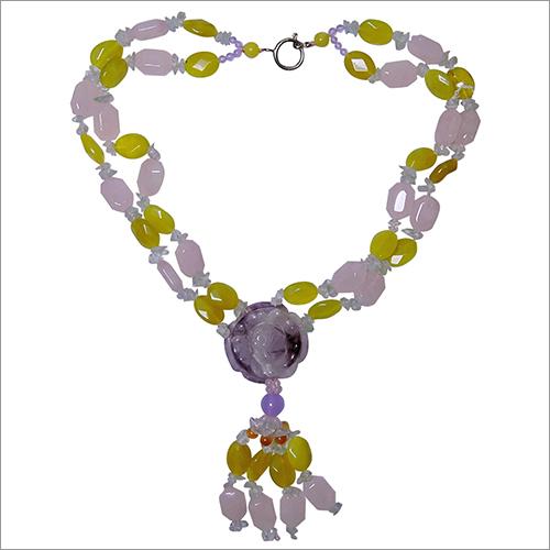 Natural Energised Clear and Rose Quartz Designer Necklace