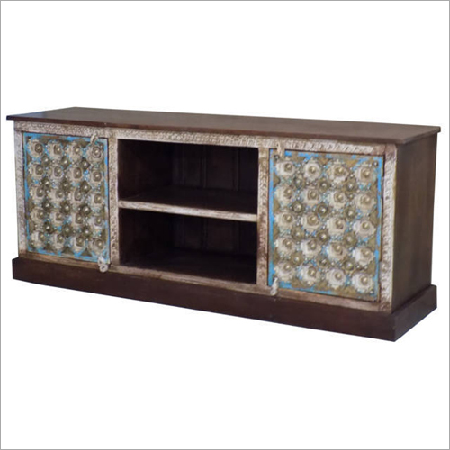 Wooden Brass Fitted Tv Cabinet
