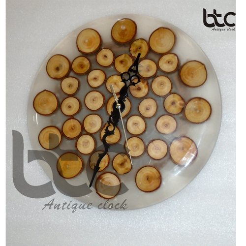 crystal clear wooden round wall clock