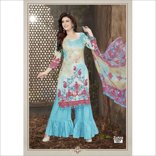 Ladies Cotton Readymade Palazzo Suits