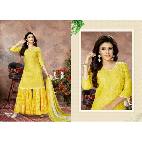 Ladies Embroidered Sharara Suits