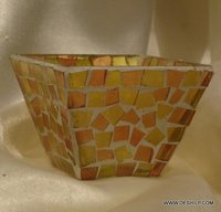 Yellow Mosaic Glass Candle Holder Handmade Votive