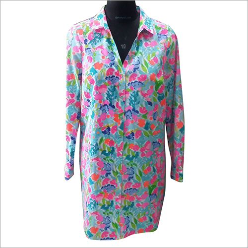 Ladies Printed Long Shirt Beachwear Dress