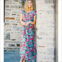 Ladies Cap Sleeve Crochet Bodice Printed Maxi Dress