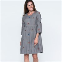 Ladies Flare Sleeve Checked Dress