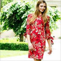 Ladies Flounce Sleeve Floral Printed Dress