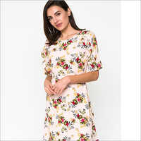 Ladies Floral Printed Short Dress