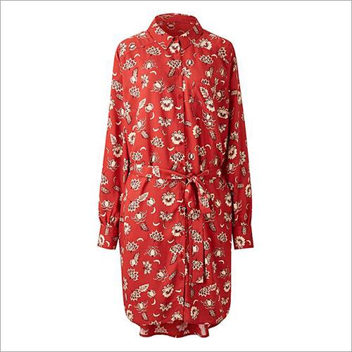Ladies Rust Floral Long Sleeve Shirt Dress