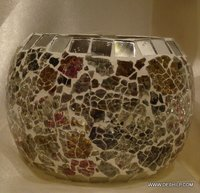 Crack Mosaic Votive Candle Holders