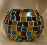 Beautiful Color Mosaic  Glass Candle Holders