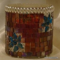 Chocolate Mosaic Hurricane Candle  Holders