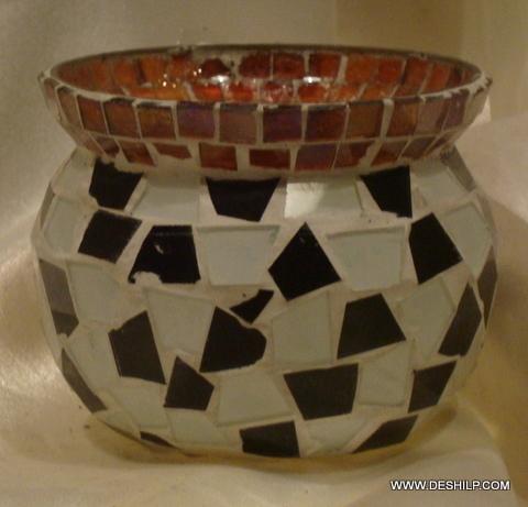 Antique-Style Glass Kuliya Votive Candle Holder Lantern