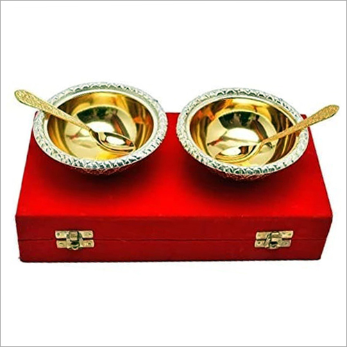 Brass Bowl And Spoon Set
