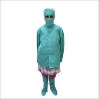 Clean Room Female Disposable Apron With Shoes Cover,Female Cap And Mask Set