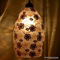 LUSTER GLASS ANTIQUE PRINTED HANGING LAMP