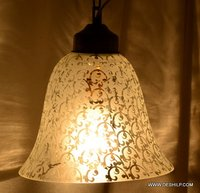 ANTIQUE GLASS DECORATIVE HANGING LAMP WITH FITTING