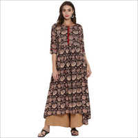 Brown Printed Cotton Flared and High Low Hemline Kurti