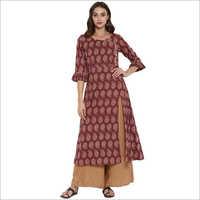 Maroon Printed Cotton A-Line & Angrakha Style Kurti