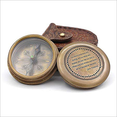 Antique Brass Poem Compass