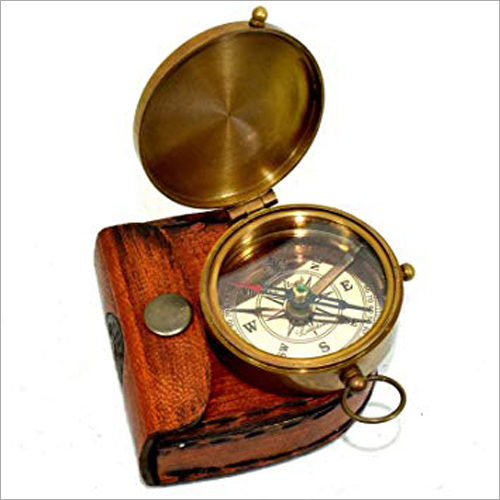 Antique Brass Flate Compass with Leather case