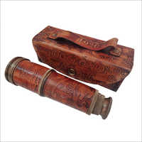 Wooden Brass Telescope with leather Case