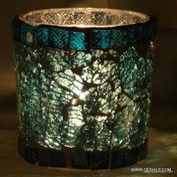 Crackle Mosaic Votive Square Candle Holders