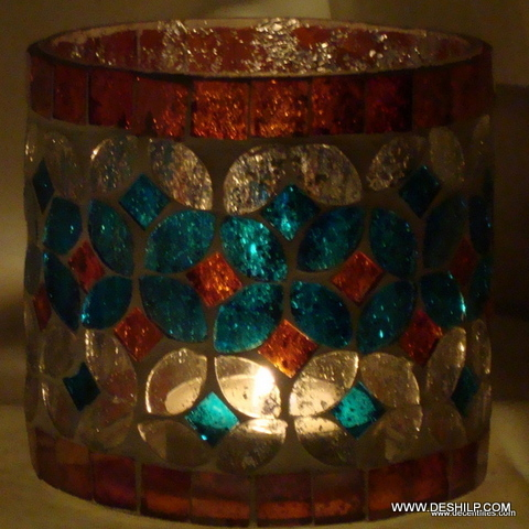 Antique Silver Mercury Candle Holders Beautiful Mosaic Glass Candle Holder