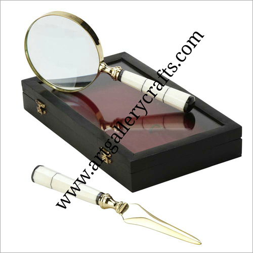 Wood Handle Brass Magnifying Glass