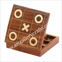 Wooden Tic Tac Game Box