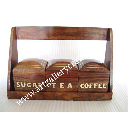 Wooden Coffee Sugar and Tea Box Set