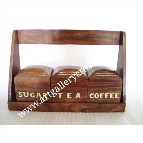 Wooden Coffee Sugar and Tea Box Set