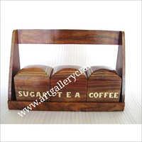 Ensemble en bois de boîte à sucre et à thé de café