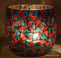 Silver & Mosaic Candle Holders