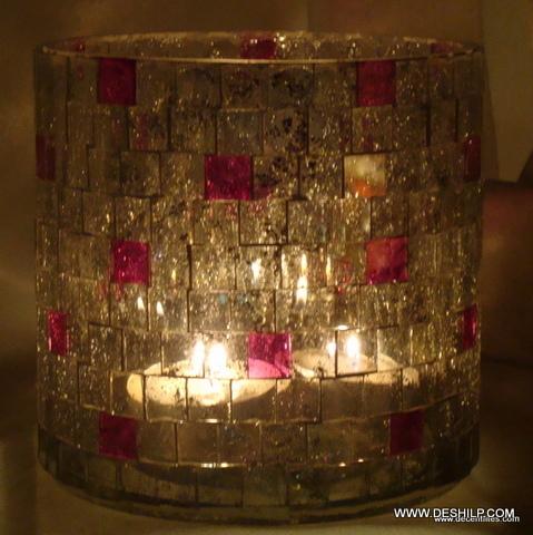 Merging Color Decorative Glass Goblet Votive Candle Holders Metal Pillar Candle Holders