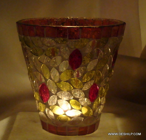 RED AND YELLOW MOSAIC ANTIQUE VOTIVE