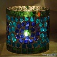 Glass Blue Goblet Votive Candle Holders Metal