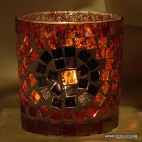 RED MOSAIC DECOR CANDLE HOLDER