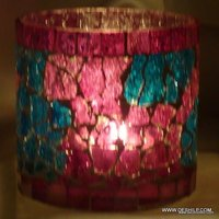 CREAK MOSAIC RED GLASS CANDLE HOLDER