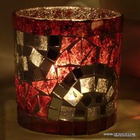 Pink & White Mosaic Glass Candle Holders