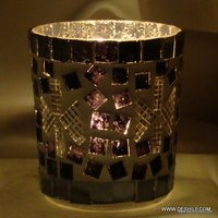 BLACK AND WHITE MOSAIC CANDLE HOLDER