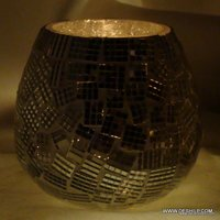 Rounded Oval Glass Candle Holder