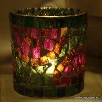 MOSAIC MULTI COLOR GLASS VOTIVE HOLDER