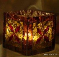 Square Decorative Glass Goblet Votive Candle Holders