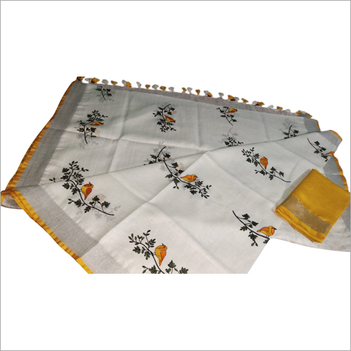 Ladies linen by linen emboridered saree
