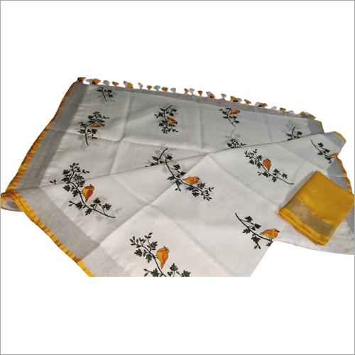 Ladies linen by linen emboridered saree