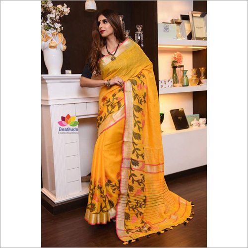 Ladies zaiquar linen saree
