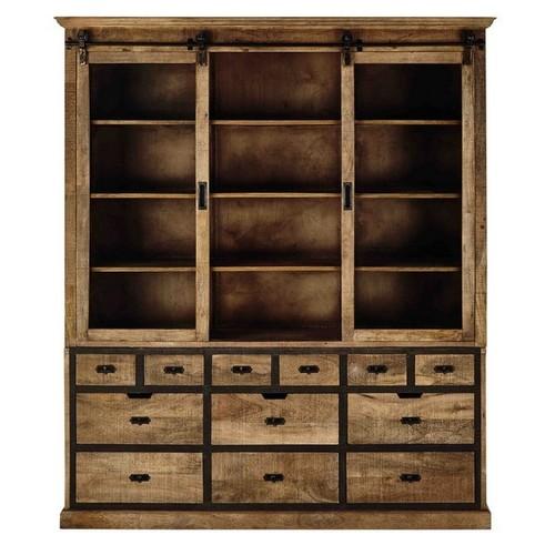 Solid Mango Wood Dresser, Industrial Sideboard, 2 Part Sideboard, Industrial Cup Board, Industrial Dresser.