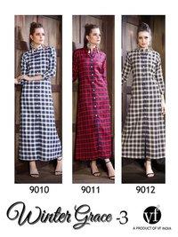 Designer cotton checks kurtis